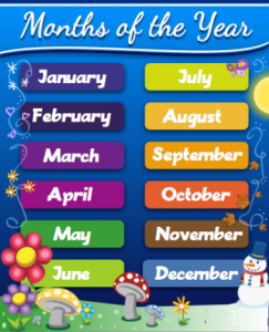cách nói các tháng trong tiếng Anh